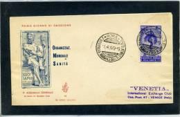 FDC VENETIA 1949 SANITA' - 6. 1946-.. Repubblica