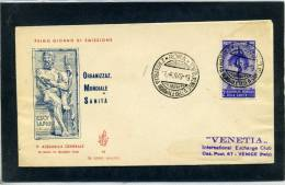 FDC VENETIA 1949 SANITA' - F.D.C.