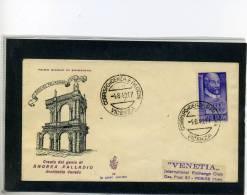 FDC VENETIA 1949 ANDREA PALLADIO - 6. 1946-.. Repubblica
