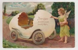 Angel Paint Egg Car.Embossed Pc. - Angeles