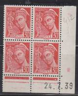 = Type Mercure 30c Rouge Coin De Feuille Daté 24.7.39  N°412 Neuf - 1930-1939