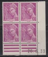 = Type Mercure 20c Lilas Coin De Feuille Daté 26.6.39  N°410 - 1930-1939