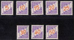 Liechtenstein 1928 Porto Mi#13-20, Mint Hinged (some Black Farb On Sixth Stamp) - Ungebraucht