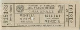 Bigglieti Di Trasporto - SOC. FILOVIE MESTRE SFM, VENEZIA (Venezia - Mestre) Série O - N° 918103 - Bus
