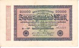 ALLEMAGNE - REPUBLIQUE DE WEIMAR - BILLET DE 20000 MARK - 1923 - [ 3] 1918-1933 : République De Weimar