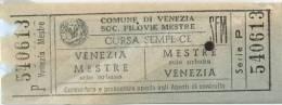 Bigglieti Di Trasporto - SOC. FILOVIE MESTRE SFM, VENEZIA (Mestre-Venezia) Série P - N° 540613 - Bus