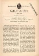 Original Patentschrift - C. Liernur In Berlin , 1885 , Kanalisation , Abwasser - Sielanlage , Stadtwerke !!! - Architektur