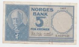 NORWAY 5 KRONER 1957 VF P 30a  30 A - Norvegia