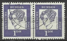 Bund 1961, Michel # 361 Y/361 Y  Waagerechte Paare  - Used/obliterato - Usati