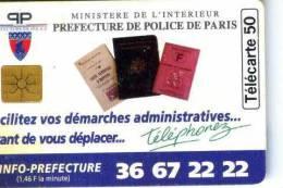 FRANCE TELECOM FRANCIA CHIP PREFECTURE DE PARIS TEMATICA THEMATIC POLIZIA MILITARIA  Télécarte Phonecard Telefonkart - Francia