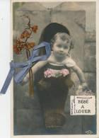 ENFANTS - Jolie Carte Fantaisie Portrait Bébé Avec Ajoutis Ruban Bleu Et Fleurs Séchées - Bébés