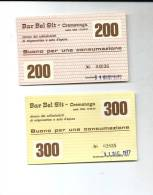 BAR BEL SIT--- CREMENAGA--- RITROVO COLLEZIONISTI--  BUONI CONSUMAZIONE--1977--100-200--300-- - Other