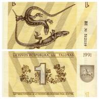 Banknote, Coin, Collection, Bank, 1992, Lithuania 1- Lizard, Arms, Rider, Horse - Lituanie