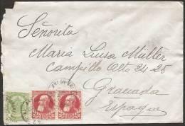 BELGICA-CARTA-Ivert.56 Y 74 (2)-CIRCULADA DE ARLON(BRUSELAS )A GRANADA 15.04.1906 - 1905 Grosse Barbe