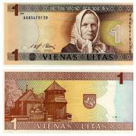 Banknote, Coin, Collection, Bank - The Bank Of Lithuania - 1 Litas - 1994 - Statue, Rider, Horse - Lituanie