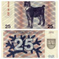 Banknote, Coin, Collection, Bank - The Bank Of Lithuania Litai 25- 1991 - Arm, Rider, Horse, Lynx - Lituanie