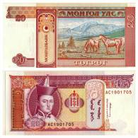 Banknote, Coin, Collection, Bank - Bank Of Mongolia 20T-arm, Horses - Mongolia
