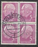 # Bund 1954, Michel # 179 Viererblock - Used/obliterato - [7] Repubblica Federale