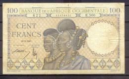 Aof French West Africa 100 Fr  10-9-1941 Femmes Peul - Billets