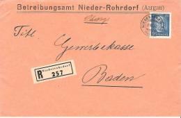 R-Brief Von NIEDERROHRDORF 31.VIII.32 Nach Baden Mit Zu 193 Mi 261 Als EF  (Zumstein CHF 11.00) - Schweiz
