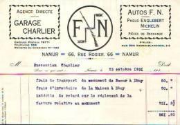 Namur - 1931 - Autos F.N. - Pneus Englebert  Michelin - Alimentaire