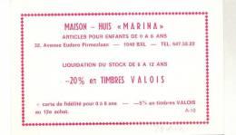 BRUSSEL-1040-ETTERBEEK-MAISON-HUIS MARINA-AV.EUDORE PIRMEZLAAN 32-ARTICLES POUR ENFANTS-CARTE PUBLICITAIRE-VOYEZ 2 SCANS - Cafés, Hôtels, Restaurants