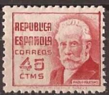 ES737-LA097TO.España.Spain.Espagne. CIFRA Y PERSONAJES.Pablo Iglesias. 1936/38 (Ed 737**) Sin Charnela,. MAGNIFICA - Sellos