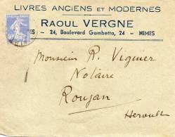 1 Enveloppes Entière : Librairie Raoul Vergne à Nimes 1933 - Métiers