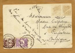 Carte Fantaisie Destination Cerfontaine TX 34 43 Taxe + Cachet Taxe Triangulaire - Postage Due