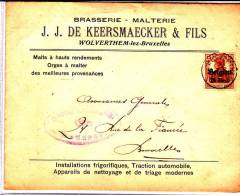 "Oc 15 Wolverthem S/l.""Brasserie-malterie J.J.De Keersmaeker ""fils/Wolverthem.Super! - Guerre 14-18"