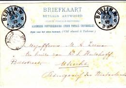 CPRP5c-Reponse-càd Allemand Berlin 64 /6.9.93 V.Utrecht. TB - Postal Stationery