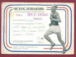 120499 / Emil Zatopek - Llong-distance Runner QSL Card - OK3-147347 - 1954 TRNAVA Czechoslovakia Tchecoslovaquie - Radio-amateur