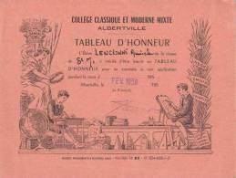 Collège Classique Et Moderne D'Albertville - Tableau D'Honneur - 1958 - Rose - Diplômes & Bulletins Scolaires
