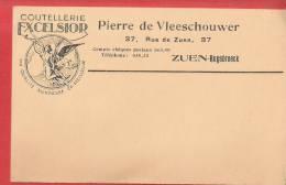 CP Belle Illustration Publicitaire  Ange Coutellerie EXCELSIOR Pierre De Vleeschouwer 37 Rue De Zuen RUYSBROECK - Non Classés