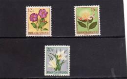 RUANDA URUNDI 1953 FLORA FLOWERS DISSOTIS PROTEA VELLOZIA FLOWER FIORI FIORE FLEURS MH - Ruanda