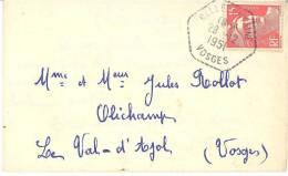 1893 BELLE FONTAINE Vosges Carte De Visite Mignonette 1951 Gandon Yv 813 Ob Hexagone Pointillé Agence Postale Lautier F7 - Postmark Collection (Covers)