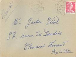 1894 NOHANENT Puy De Dôme Lettre Entière 4 2 1957 Muller Yv 1011 Ob Hexagone Pointillé Agence Postale Lautier F7 - Postmark Collection (Covers)
