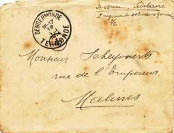 573/20 - PREMIER MOIS DE GUERRE - Lettre En S.M. DENDERMONDE19 VIII 14 Vers MALINES 22 VIII 14 - WW I