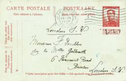 577/20 - PREMIERS MOIS DE GUERRE - Entier Pellens ANTWERPEN 26 IX 1914 Vers LONDRES - Long Texte - Invasion