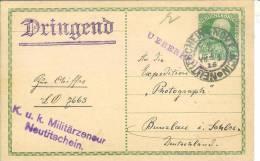 """Entier Postal P216 Censure""""K.u.k.militärzensur / Neutitschein."""" Et Griffe """"ueberprueft"""" Et """"dringend"""" (urgent) - Covers & Documents"""