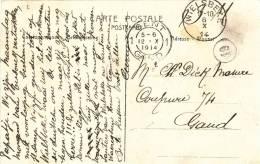 582/20 - PREMIERS MOIS DE GUERRE - Carte-Vue En SM WIELSBEKE 6 X 1914 Vers GENT 12 X 1914 - Date TARDIVE - WW I