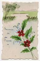 SOUVENIR De FISMES - Illustration Peinte à La Main - Fleurs Champêtres Et Paysage - Papier Toilé - Ecrite En 1916 - Fismes
