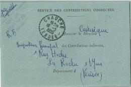 2289 CHAUCHE Vendée Lettre En Franchise  Cercle Pointillé  Recette Distribution 16 5 1955 Lautier B7 - Postmark Collection (Covers)