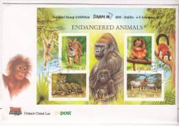 1998 Irlanda Ireland Eire ENDANGERED ANIMALS SG MS 1205 FDC STAMPA 98 - FDC