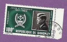 DAHOMEY TIMBRE POSTE AERIENNE N° 34 OBLITERE PRESIDENT JOHN F KENNEDY - Benin – Dahomey (1960-...)