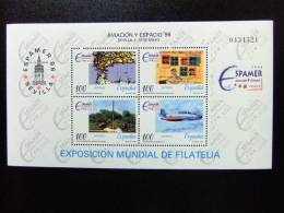 ESPAÑA SPAIN ESPAGNE 1996 EXPO FILATELIA   Edifil Nº 3428 + 3433 ** Yvert Nº BF 70 -71  ** MNH - Aviones