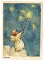 Joyeux Noël  - Illustration Eimkeyn - Ange Allumant Les étoiles - Angel - Back Is Written & Stamped In 1959 - Fêtes - Voeux