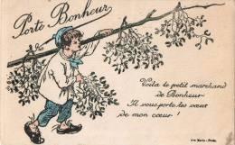 CPA - Porte Bonheur - Voilà Le Petit Marchand De Bonheur - Il Vous Porte Les Voeux De Mon Coeur ! Ave Maria, Paris - Dibujos De Niños