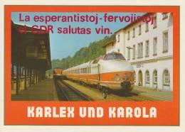 (AKE 96) Esperanto Card From The German Democratic Republic - Trains / Karto El GDR Trajnoj - Esperanto