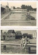 2 Alte Fotos Groß-Gerau, Frauen Im Freibad Um 1960 - Gross-Gerau